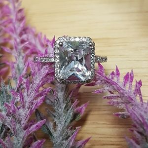 Stirling Silver Square Stone Ring